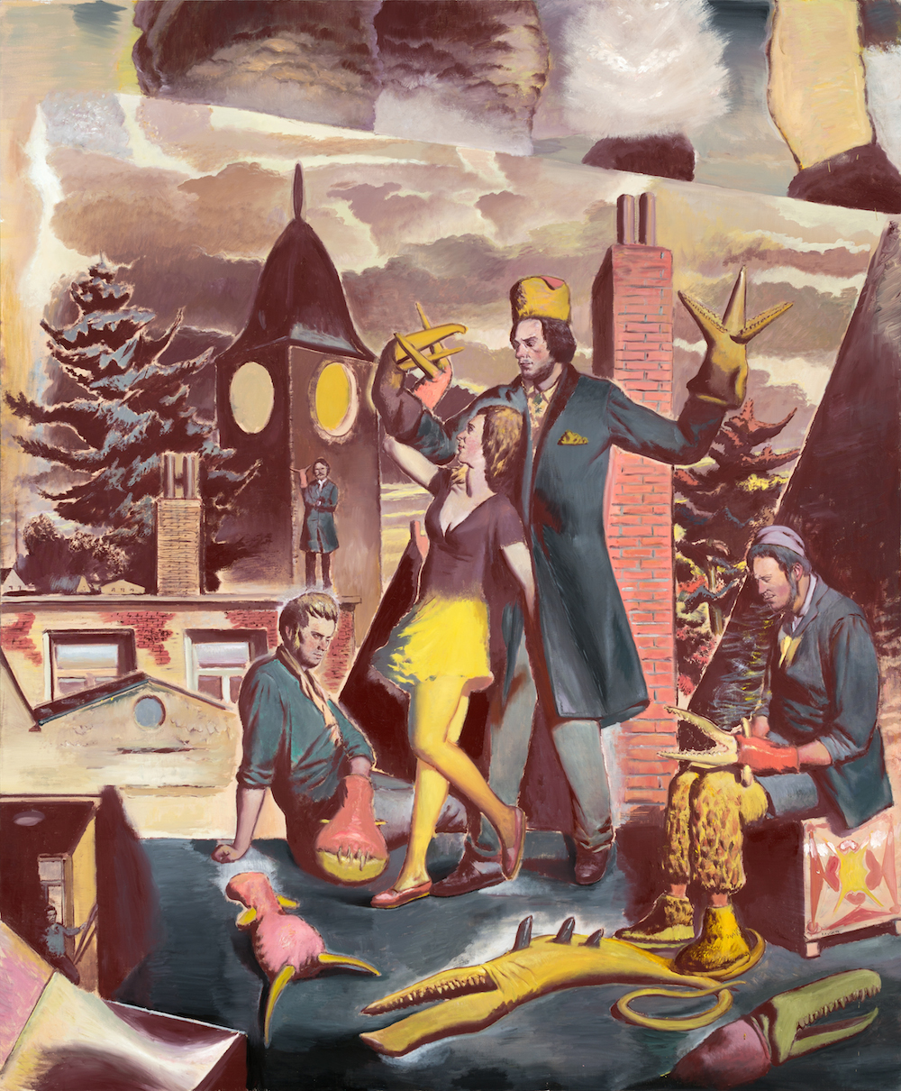 Neo Rauch, Über den Dächern, 2014, oil on canvas, 98 1/2 x 118 1/8 inches (court