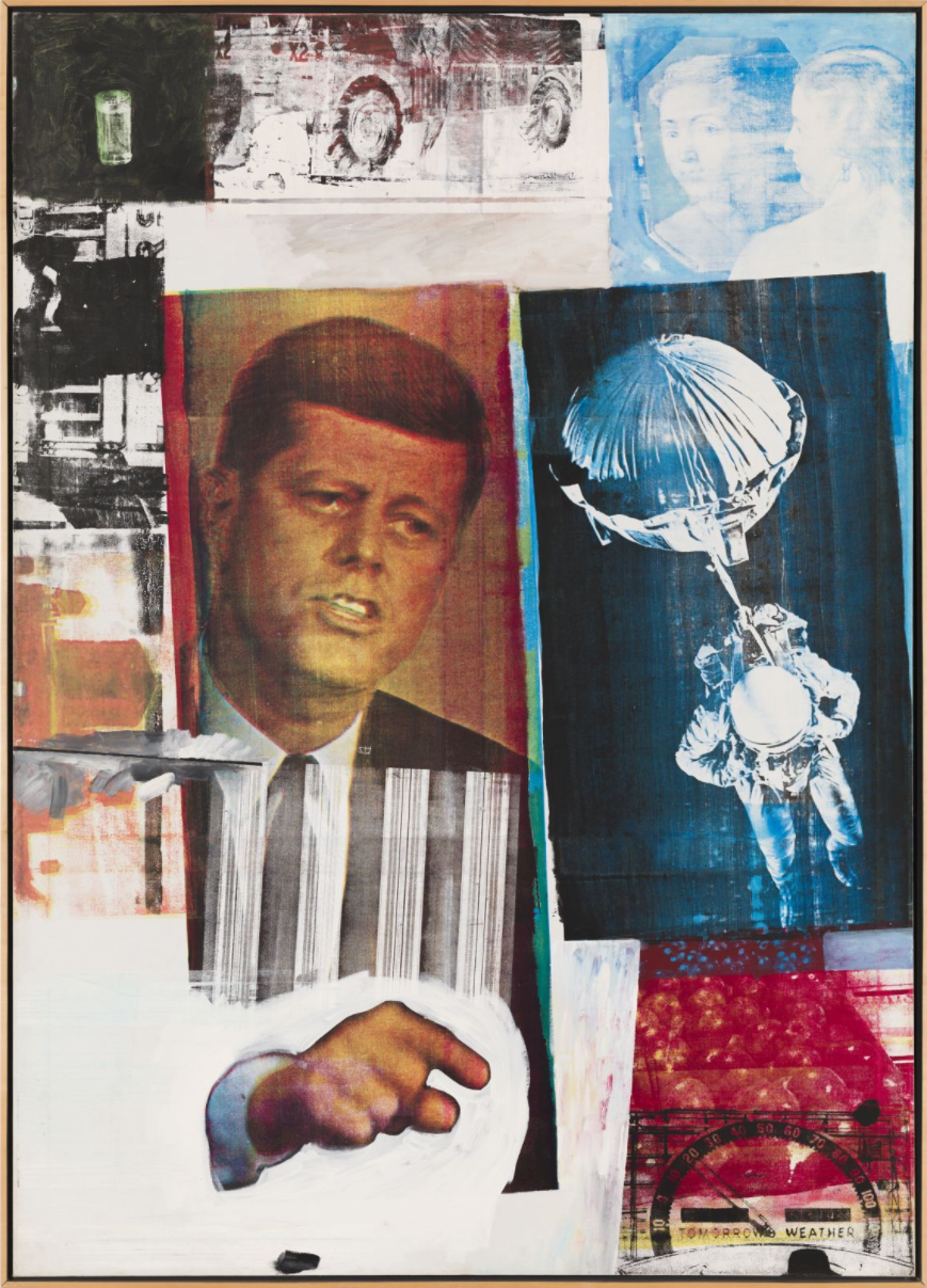 Robert Rauschenberg, Retroactive II 1963, oil, silkscreen, and ink on canvas 80 × 60 inches (Collection Museum of Contemporary Art Chicago, Photo: Nathan Keay, © MCA Chicago)