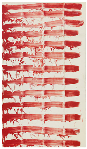 David Reed, #49, 1974, oil on canvas, 76 × 44 inches (Museum of Contemporary Art San Diego, Gift of David Reed © 2017 David Reed / Artists Rights Society (ARS), New York. Photo: Rob McKeever)