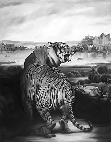 Shelley Reed, Tiger (after Landseer and Thiele), 2007, oil on canvas 72 x 56 inc