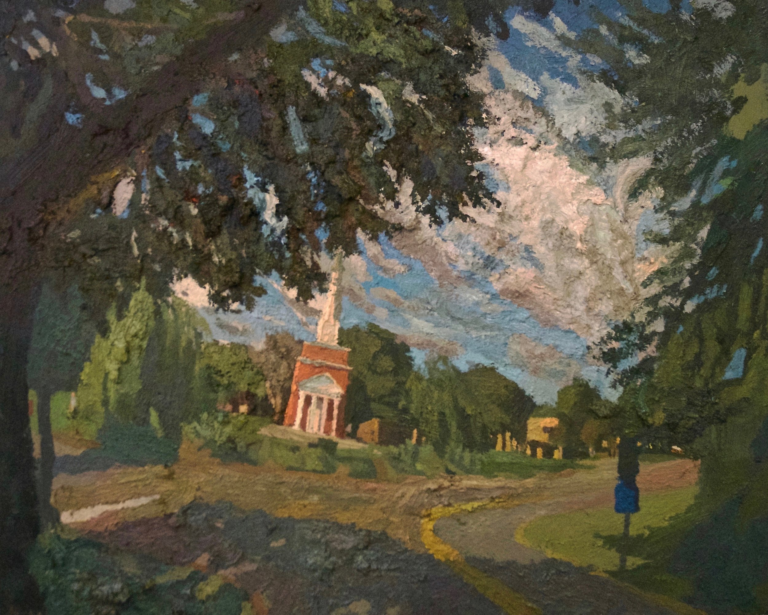 Brian Rego, The Bell Tower, Heathwood Hall, 2016, oil on canvas, 16 x 20 inches (courtesy of the artist)