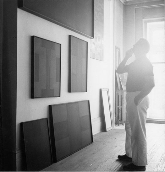 Ad Reinhardt in his studio (courtesy the Ad Reinhardt Foundation)
