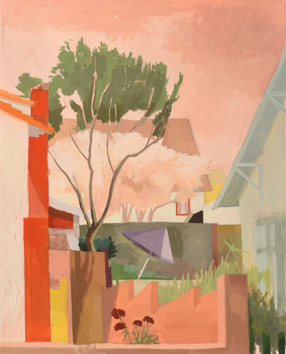 Celia Reisman, Purple Umbrella, oil on canvas, 30 x 24 inches, 2014 (courtesy of