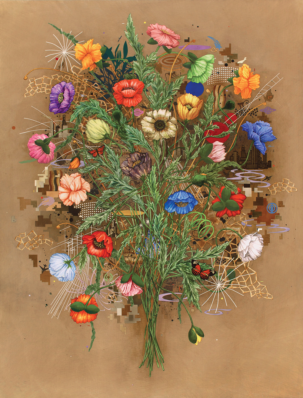 Roland Reiss, Fleurs de Mal #2, 2008, water media on canvas, 68 x 52 inches (© R