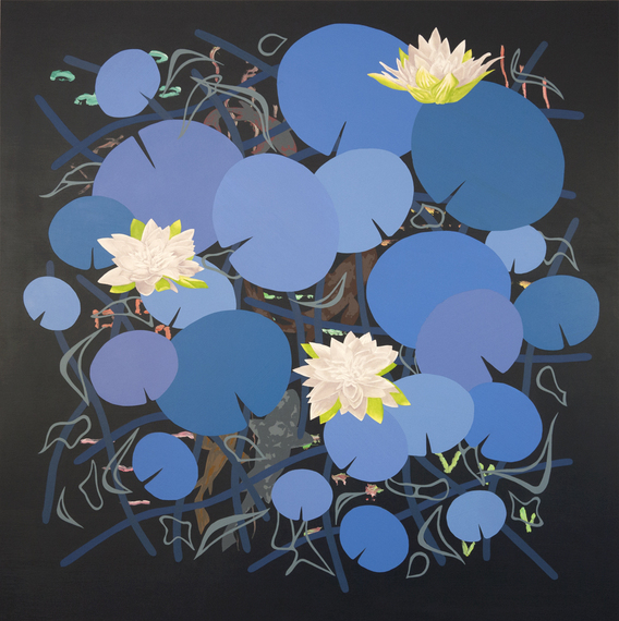 Roland Reiss, Lilies In Blue, 2014, 44 x 44 inches, oil and acrylic on canvas (c