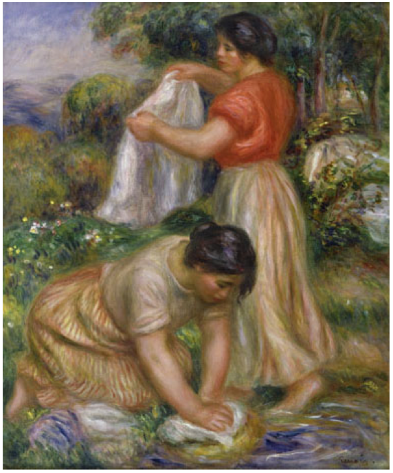 Pierre Auguste Renoir, Les Laveuses, c. 1912, oil on canvas, 25-3/4 x 21-1/2 inches (Hammer Galleries, New York)