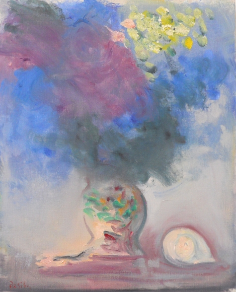 Paul Resika, Hydrangea and Shell, 2015, oil on canvas, 20 x 16 inches (courtesy