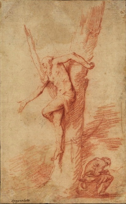 Jusepe de Ribera (lo Spagnoletto), Man tied to a tree, and a figure resting, Red