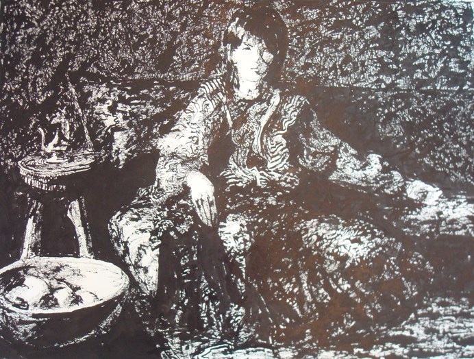 Richard Allan George, Figure with Bowl of Fruit, No Date, 18 x 24 inches, Graphi