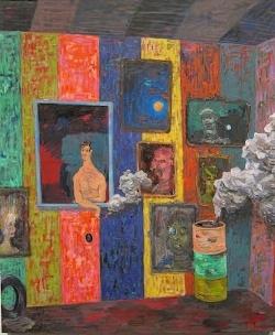 Richard Hawkins, Salome Painting: Smoke Smoke, 2012, oil on canvas, 32 1/2 x 39
