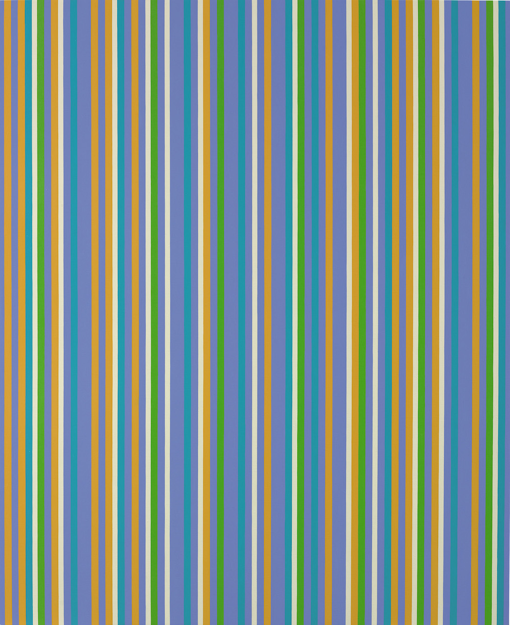 Bridget Riley, Lilac Painting 5, 2008/1983, oil on linen 67 1/2 x 55 1/4 inches,