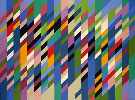 Bridget Riley, Debut, 1988, oil on linen, 167,6 x 226,1 cm (courtesy Galerie Max