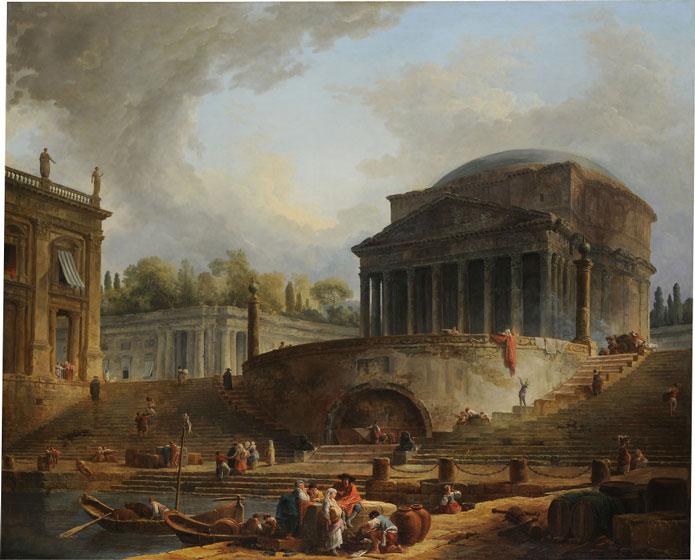 Hubert Robert, The Pantheon with the Port of Ripetta, 1766, oil on canvas (École Nationale Supérieure des Beaux-Arts, Paris, on deposit from the Département des Peintures du Musée du Louvre)