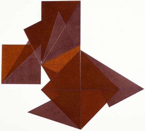 Dorothea Rockburne, Roman VI, 1977, kraft paper, copal oil varnish, blue pencil,
