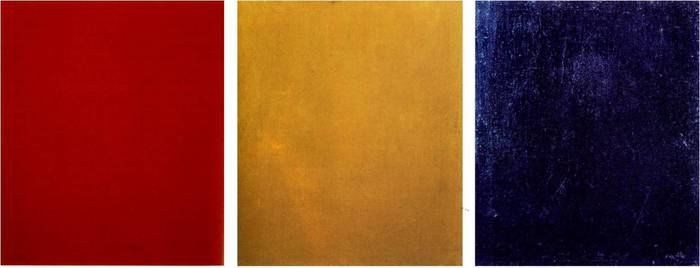 Alexander Rodchenko, Pure Red, Pure Yellow, and Pure Blue, 1921, Oil on canvas,