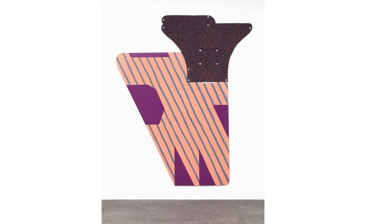 Ruth Root, Untitled, 2014-2015, fabric, enamel, plexi, spray paint, 104 x 63 inc