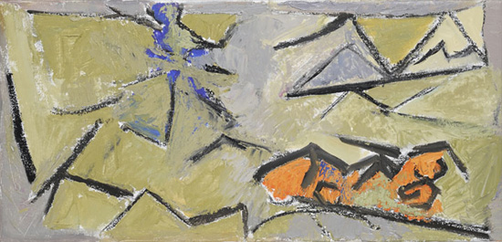 Deborah Rosenthal, Summer Fragments, 2010, 12 x 24 inches, oil on linen (courtes