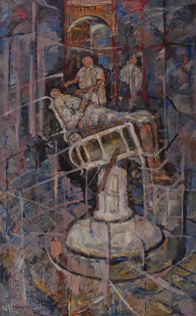 Seymour Rosofsky, Patient in Dentist's Chair, 1961, oil on canvas (Smart Museum