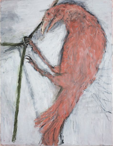 Susan Rothenberg, Pink Raven, 2012,  oil on canvas, 62 1/2 x 48 inches (courtesy of the artist and Sperone Westwater)