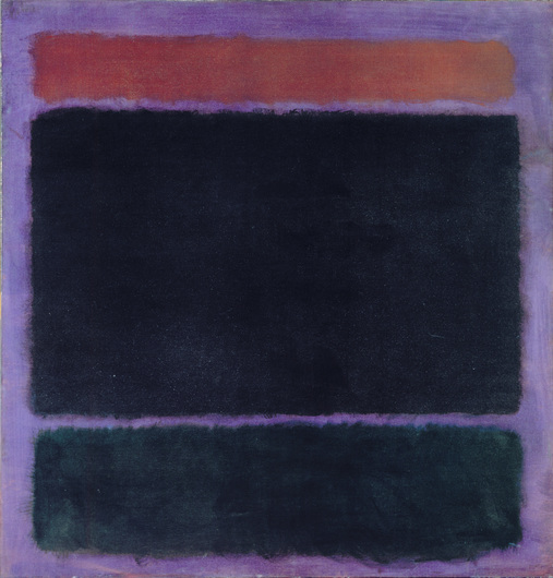 Mark Rothko, Untitled (Rust, Blacks on Plum), 1962, oil on canvas, 60 x 57 inches (Private Collection, Santa Monica © 1998 Kate Rothko Prizel & Christopher Rothko / Artists Rights Society (ARS), NY, Photo courtesy of The Mark Rothko Foundation)