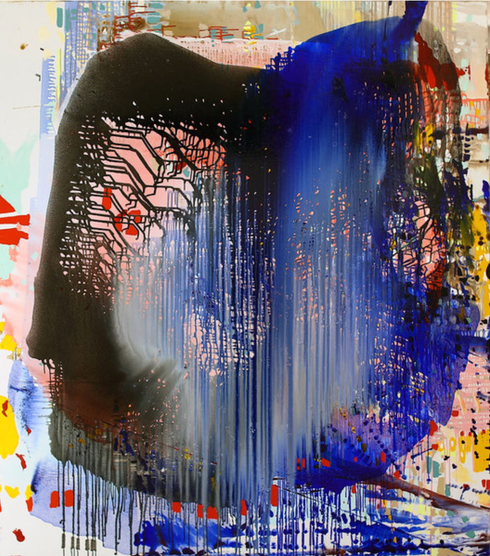 Jackie Saccoccio, Profile (Heartbeat), 2015, oil and mica on linen, 90 x 79 inch