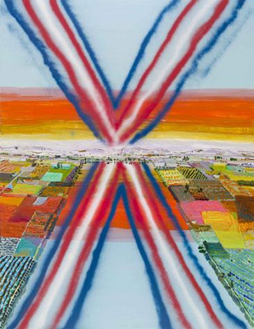 Lisa Sanditz, Crop Dusters, 2013, acrylic and spray paint on canvas, 70 x 54 inc