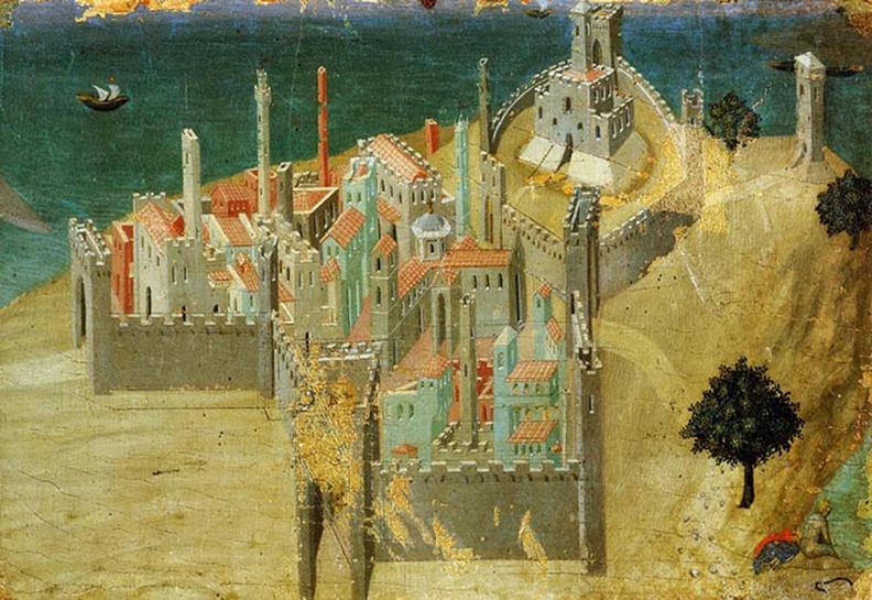 Sassetta, City by the Sea (view of Talamone), c.1340, Siena, Pinacoteca, formerl
