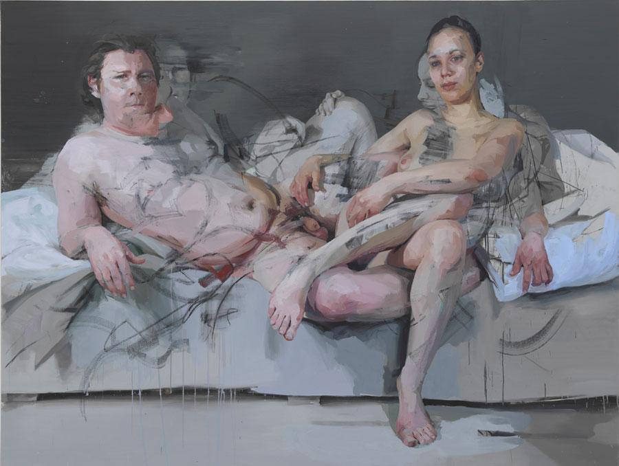 Jenny Saville, Intertwine, 2011–14, oil on canvas, 86 7/16 x 114 3/16 x 2 9/16 i