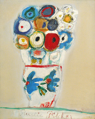 Edith Schloss, Rustic Pitcher, 1967, oil on canvas, 19.6 x 15.75 inches (courtes