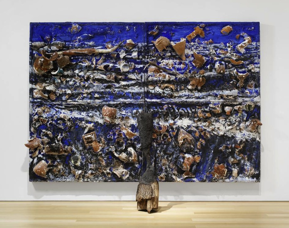 Julian Schnabel, The Sea, 1981, oil, mexican pots and bondo on wood, 108 x 156 i