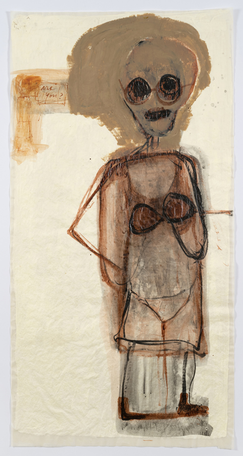 """Mira Schor, """"Power"""" Figure #11: Are You?, 2015, ink, Flashe, and gesso on tracin"""