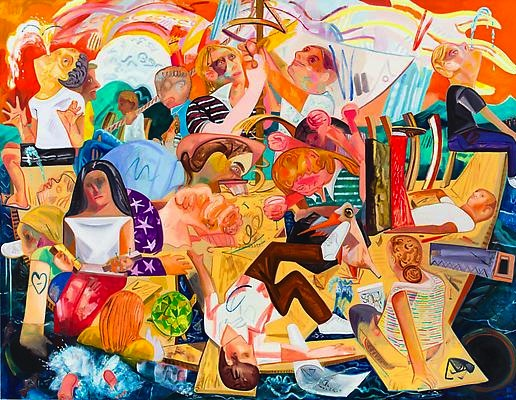 Dana Schutz, Builing the Boat While Sailing, oil on canvas, 2012, 120 x 156 inch