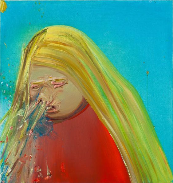 Dana Schutz, Sneeze, 200, oil on canvas, 19 x 19 inches (courtesy of the artist and Petzel Gallery)