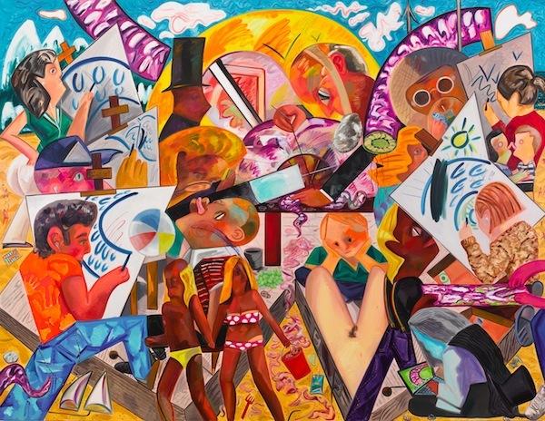 Dana Schutz, Assembling an Octopus, 2013, oil on canvas, 10 x 13' (courtesy of t