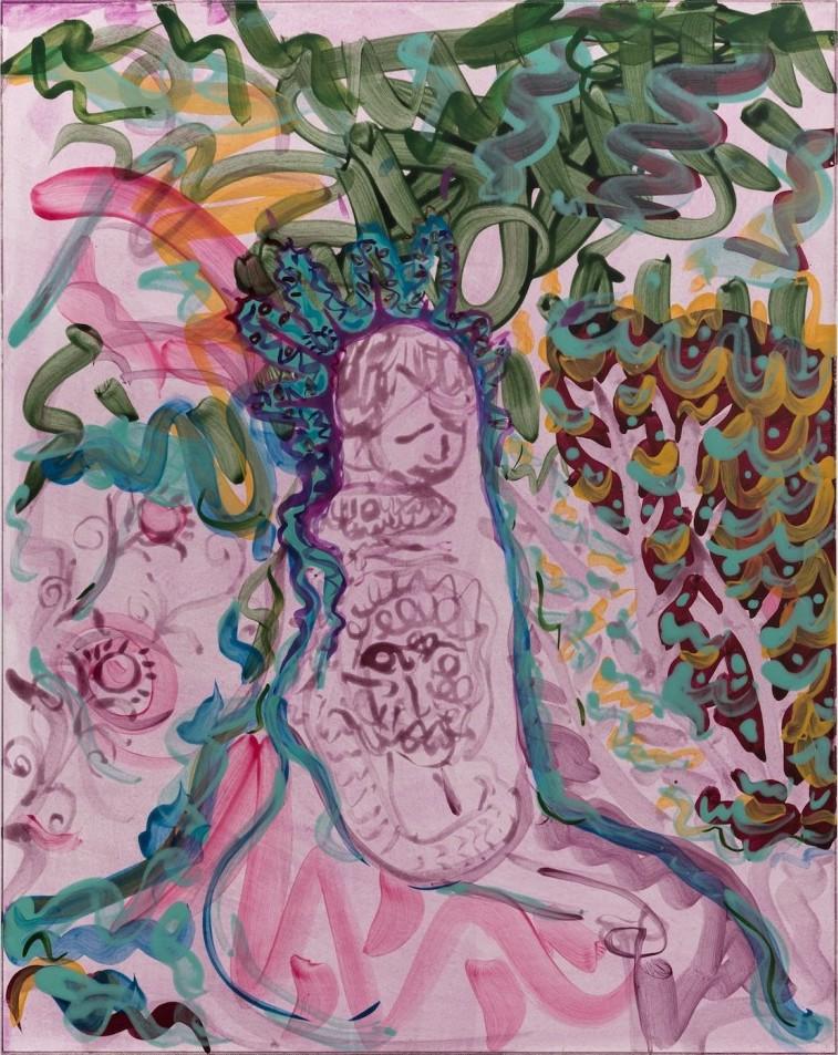 Nick Schutzenhofer. Untitled, 2014, egg tempera on paper mounted to canvas, 29 1