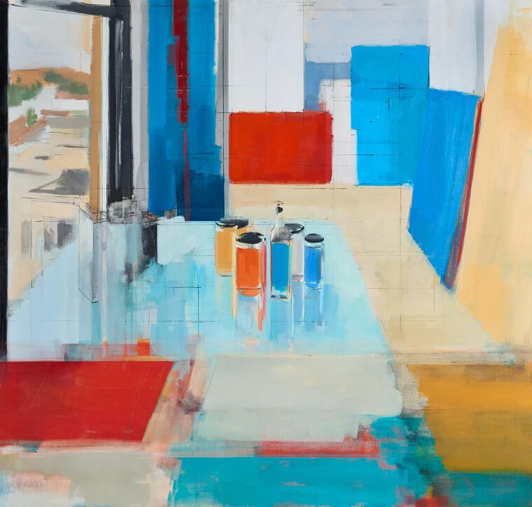 Peri Schwartz, Studio XLIX, 2018, oil on canvas, 44 x 48 inches (courtesy of Gallery NAGA)