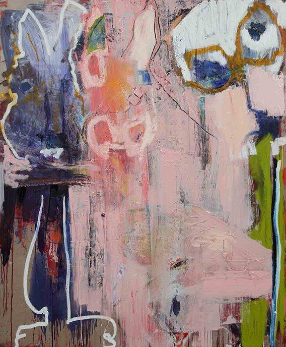 Karen Schwartz, Down The Rabbit Hole, 72 x 60 inches, mixed media on linen, 2014
