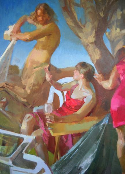 (detail) Elise Schweitzer, Garden Party, oil on linen, 54 x 144 inches (courtesy