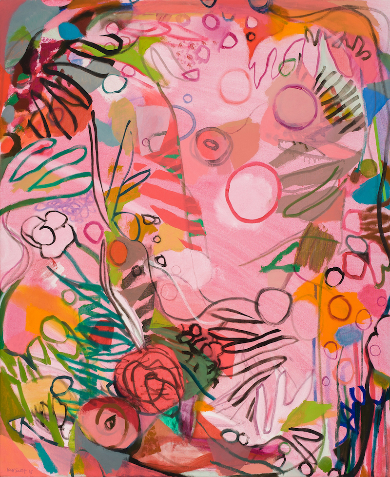 Bill Scott, An Aquarium of Flowers, 2015, oil on canvas, 52 x 43 inches (courtes