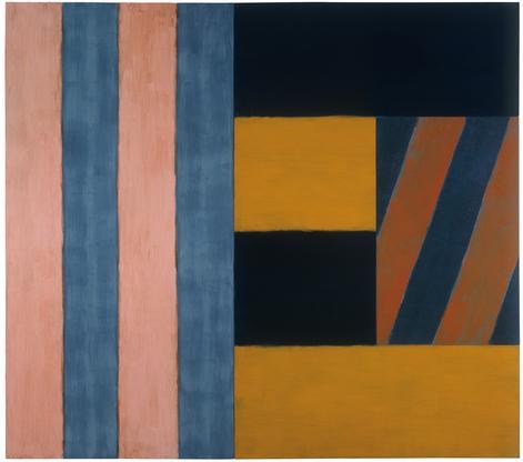 Sean Scully, Music, 1986, oil on linen, 96 x 108 1/8 x 3 3/4 inches (courtesy of Mnuchin Gallery)