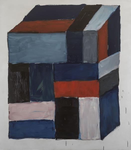 Sean Scully, Block Red, 2016, oil on aluminum, 85 x 75 inches (courtesy of Cheim & Read)