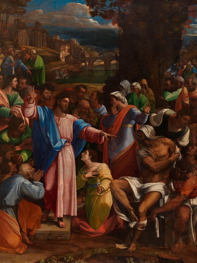 Sebastiano del Piombo, incorporating designs by Michelangelo. The Raising of Lazarus, 1517-19. Oil on synthetic panel, transferred from wood, 381 x 289.6 cm (© The National Gallery, London)
