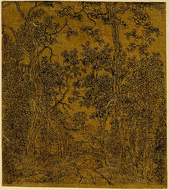 Hercules Segers, Small Wooded Landscape with a Road and a House, ca. 1618-22, Line etching printed on linen with a dark yellow ground, 6 in. × 3 3/4 inches (British Museum, London)
