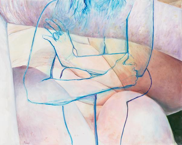 Joan Semmel, Blue Embrace, 2016, oil on canvas 60hx 48 inches (courtesy of Alexander Gray Associates)