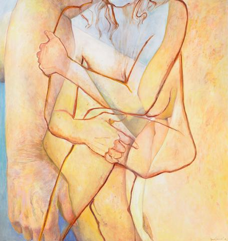 Joan Semmel, Double Embrace, 2016, oil on canvas, 72 x 68 inches (courtesy of Alexander Gray Associates)