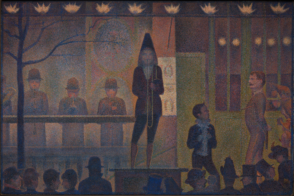 Georges Seurat, Circus Sideshow (Parade de cirque), 1887–88, oil on canvas, 39 1/4 x 59 inches (The Metropolitan Museum of Art, New York Bequest of Stephen C. Clark, 1960)