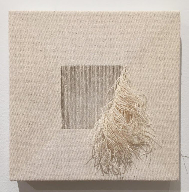 Edward Shalala, Untitled, 2010, raw canvas and pulled threads, 8 x 8 inches (photo: Joanne Mattera)