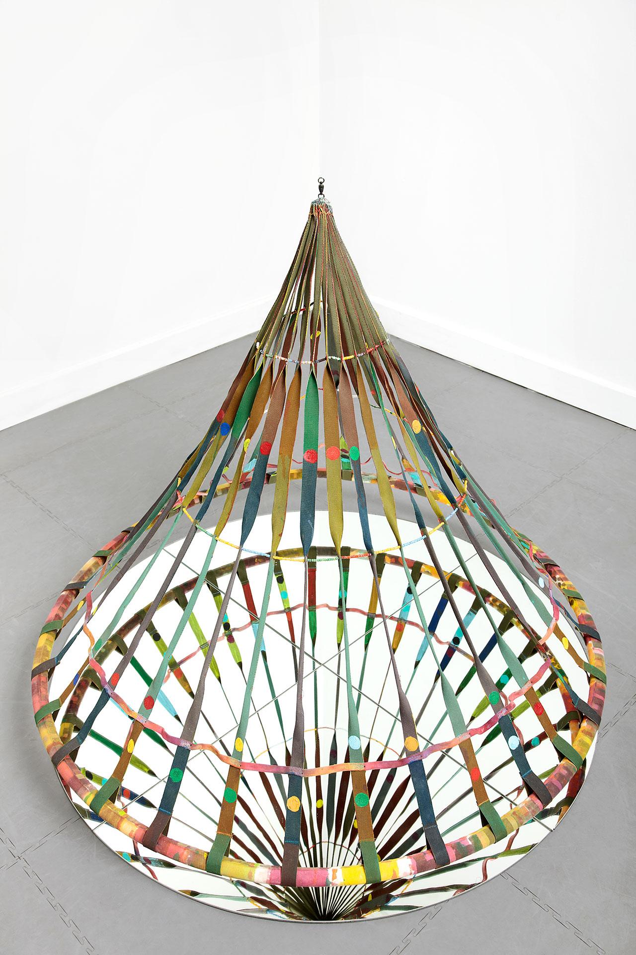 Alan Shields, Dance Bag, 1985, acrylic, canvas, glass beads, thread on aluminum