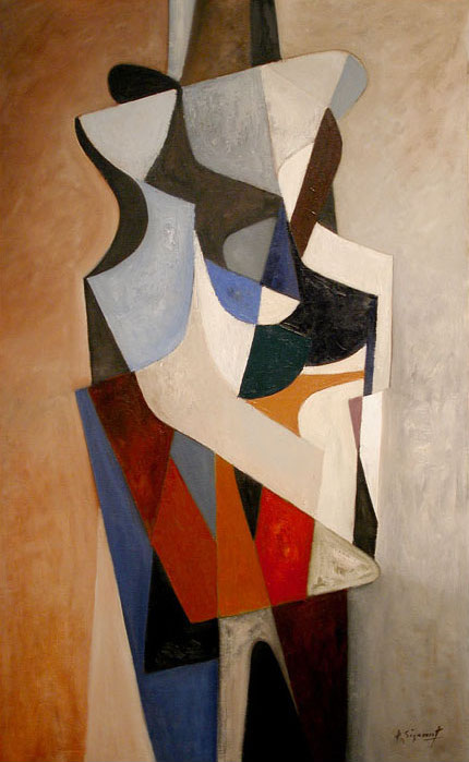 Jean Signovert, Composition, c.1950, oil on canvas, 51 x 32 inches (courtesy of