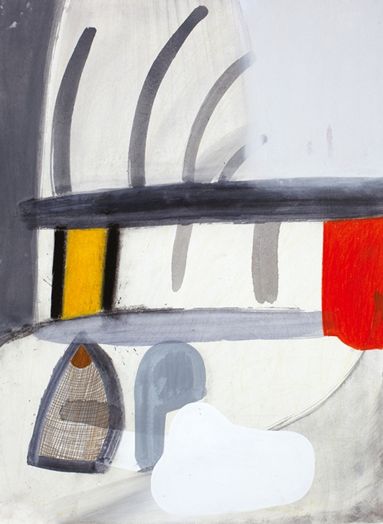 Amy Sillman, A Shape that Stands Up and Listens 26, 2012, gouache, charcoal, and